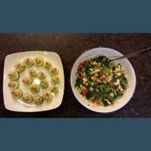 Cucumber and hummus appetizer, kale/Asian slaw/peppers/carrot salad