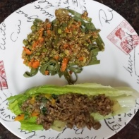 Lentil lettuce wrap and pea, carrot, quinoa salad over spinach pasta