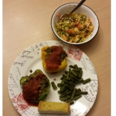 Kale/cabbage/apple salad with lentil/quinoa stuffed peppers, green beans and garlic bread