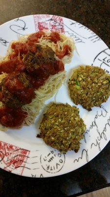 Pasta with veggie meatballs with a side of zucchini patties