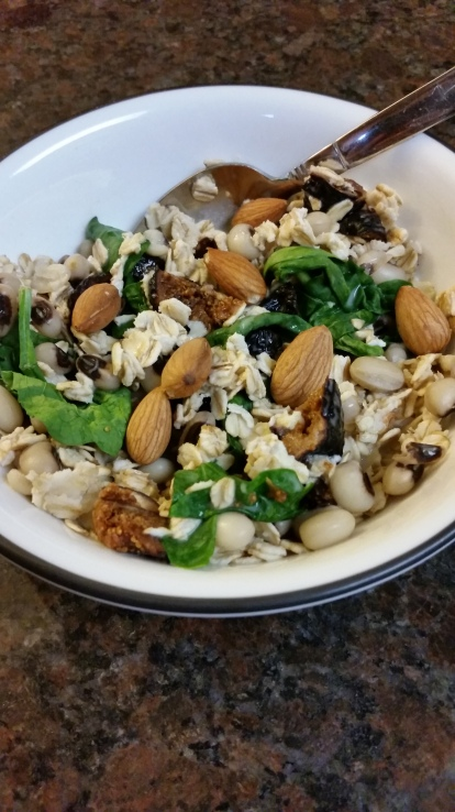 For breakfast of anytime of the day... Oatmeal, black-eyed peas, dried figs, spinach, almonds, and unsweetened coconut milk.
