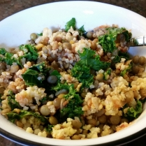 My breakfast!! Millet with lentils and kale, and a dollop of horseradish and ketchup.