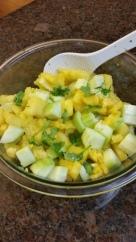 Mango, cucumber, cilantro salad.